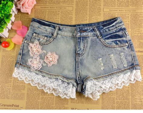 Light Blue Laces Riped Sobek Tembus Renda encaje en un pantalon jean buscar con pantalones cortos s 246 k och