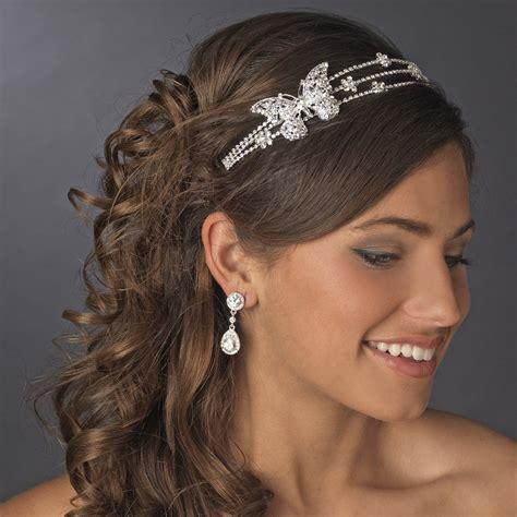 Rhodium Silver Butterfly Headband Headpiece   Elegant Bridal Hair Accessories