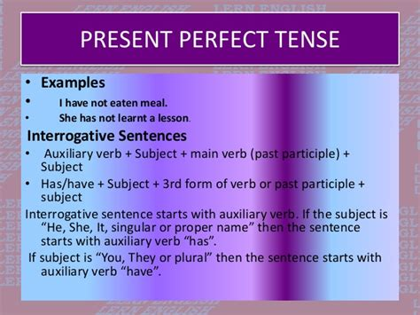 present perfect tense sentence pattern tenses