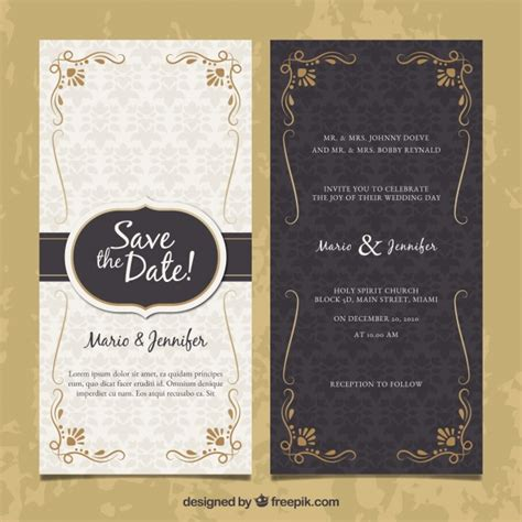Two Sided Wedding Invitation In Vintage Style Vector Free Download Sided Invitations Templates