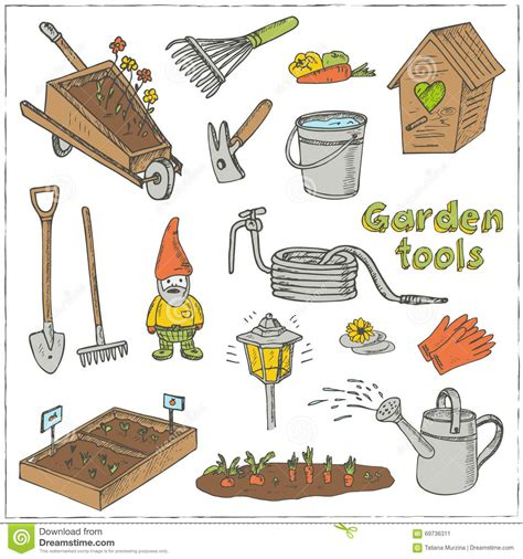 doodle tools garden tools doodle set various equipment facilities for