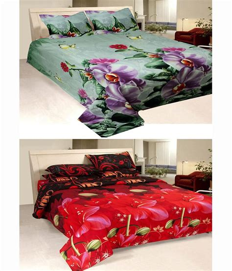 buying bed sheets shopgrab multicolour poly cotton double bed sheet with 2