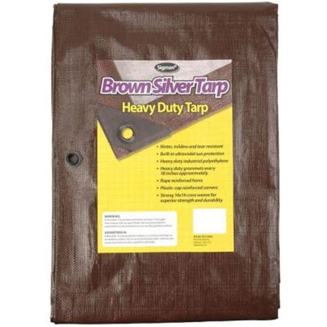 sigman 12 ft x 24 ft brown silver heavy duty tarp