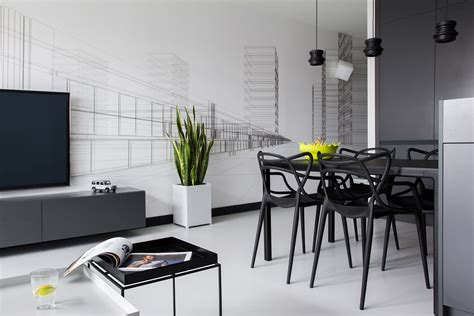 minimalist apartment design masculine black and white apartment spiced up with