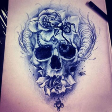 skull and flower tattoos horned skull flower idea tattoos