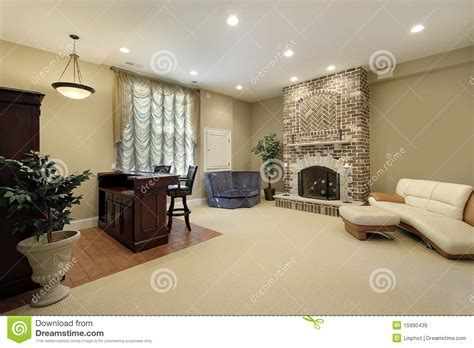 Basement With Brick Fireplace Stock Image   Image: 15990439