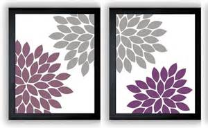 Plum And Gray Bathroom - flower print grey gray purple plum chrysanthemum flowers set