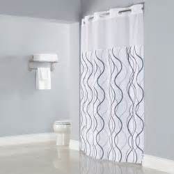 Black White Gray Curtains Hookless Hbh49wav01sl77 White With Gray Waves Shower Curtain With Matching Flat Flex On Rings
