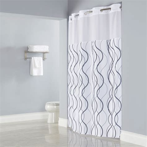 White Bathroom Window Curtains Hookless Hbh49wav01sl77 White With Gray Waves Shower Curtain With Matching Flat Flex On Rings