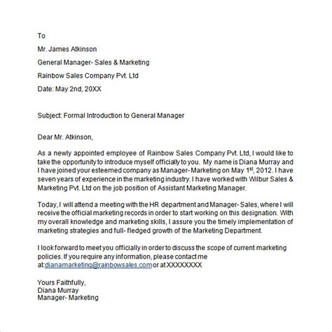 Business Manager Introduction Letter introduction letter 14 free documents in pdf word