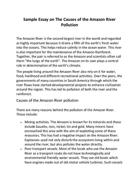 Water Pollution Essay by Sle Essay On The Causes Of The River Pollution