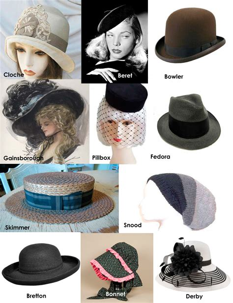different styles of hats vintage