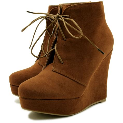 wedge heel lace up platform ankle boots from