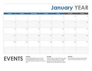 calendar template horizontal calendar monday start office templates
