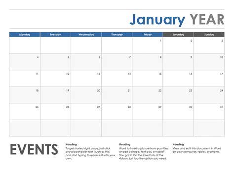 horizontal calendar monday start office templates