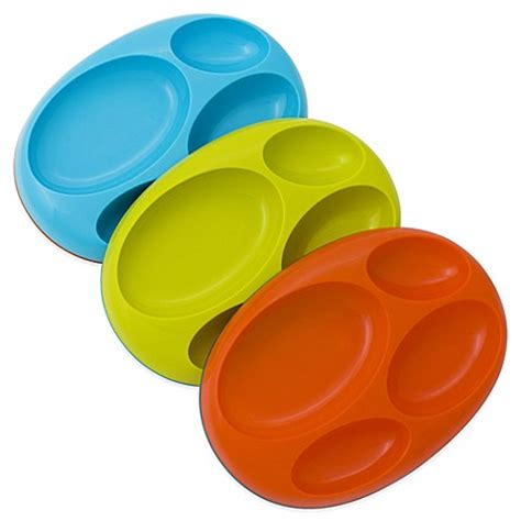 Boon Plate Nonskid Orange buy boon 174 platter edgeless non skid divided plate in teal lime orange set of 3 from bed bath