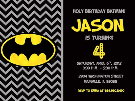 printable birthday invitations batman batman birthday party invitation digital printable file