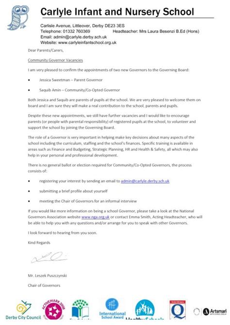 School Governor Application Letter Exle Community Governor Vacancies Carlyle Infant And Nursery School