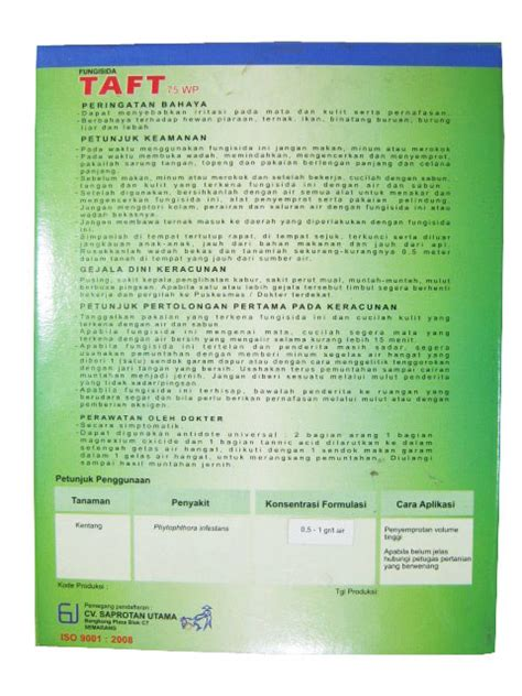 Nopatek Pengendali Jamur Busuk Buah Dan Busuk Daun 1 obat pertanian pembunuh jamur fungisida taft 75wp 400gr sumber plastik