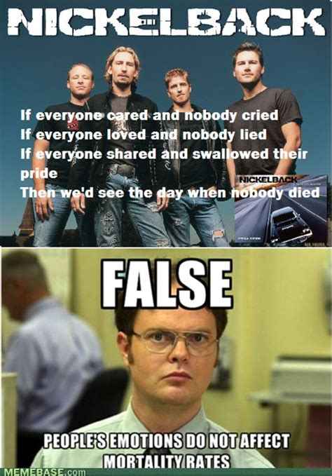 Nickelback Meme - dwight about nickelback lyrics lyric memes pinterest