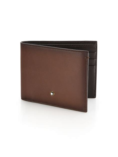 lyst montblanc italian leather wallet in brown for