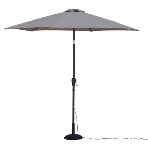 9 Ft Tilting Patio Umbrella With Cool Led Lights In Striped Patio Umbrella 9 Ft
