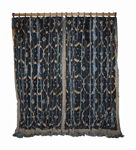 blue gold curtains two pairs of old gold metal thread and mid blue sted
