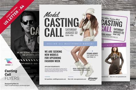 casting call flyer templates by kinzi21 on creativemarket