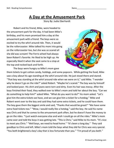 theme park questions reading comprehension worksheet a day at the amusement park