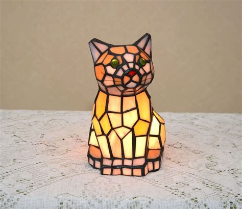 stained glass cat l 8 5 quot h stained glass tiffany style kitty cat night light