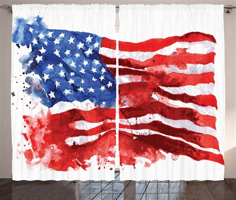 american flag home decor american curtains 2 panels set watercolor usa flag home