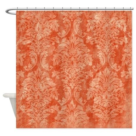 orange flower shower curtain vintage orange floral pattern shower curtain by