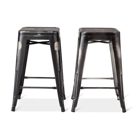 24 Backless Bar Stools by Distressed 24 Quot Backless Counter Stool Set 2 Pc Ebay