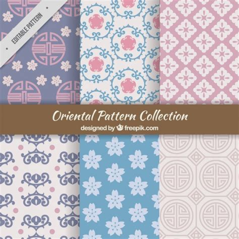 oriental pattern vector free download set of abstract oriental shapes patterns vector free