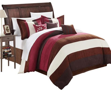 brown microsuede comforter cathy microsuede burgundy brown ivory king 7 piece