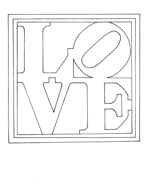 coloring page of indiana colouring page of robert indiana s famous painting