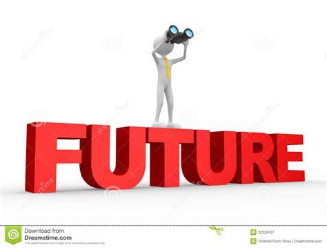 binoculaire et mot avenir photographie stock libre de