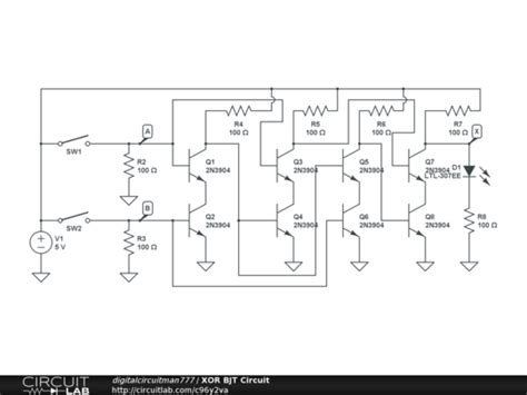 xor gate transistor diagram xor bjt circuit circuitlab