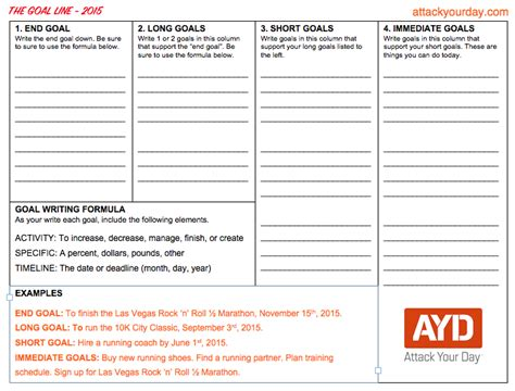 Goal Writing Template Download Attack Your Day How To Write Your Goals Template
