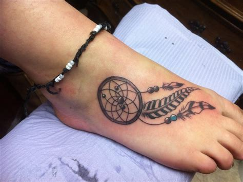 dream catcher tattoo on foot catcher foot tattoos tattoos