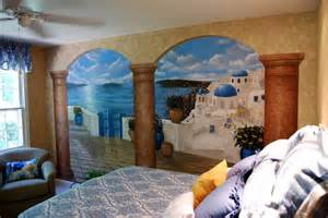santorini greece mural in a bedroom by tom taylor of wow effects greek village house with blue door pyrgos wall mural amp greek village
