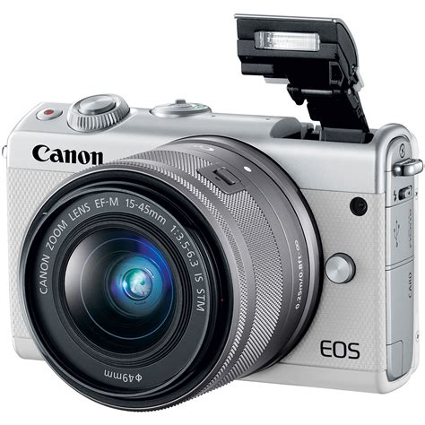 Canon Eos M100 Kit 15 45mm Is Stm Putih White canon eos m100 kit ef m 15 45mm f 3 5 6 3 is stm white
