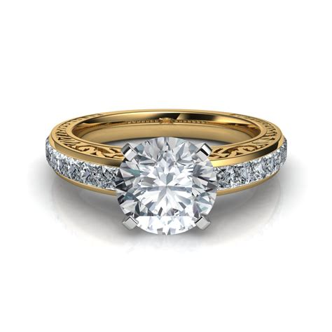 engraved vintage style engagement ring in 14k