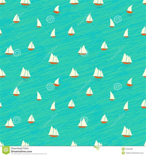 nautical pattern background nautical pattern with small boats on waves stock vector