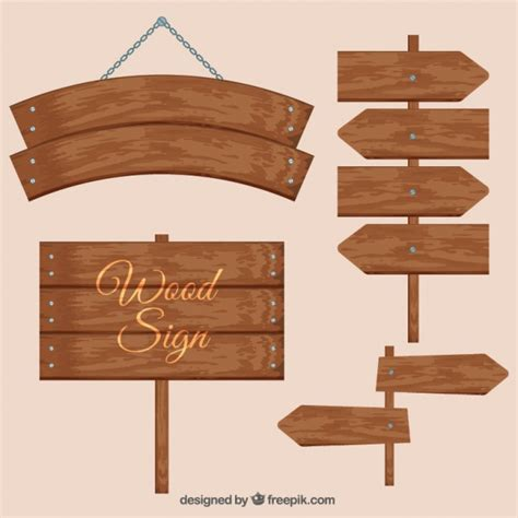 wood sign templates various wooden signs vector free