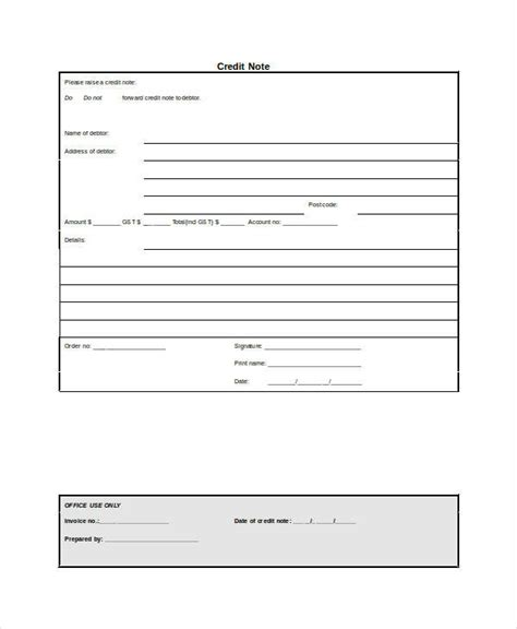 Credit Note Template Sle 6 Credit Note Exles Sles