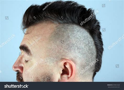 mohawk just on the top of head black men closeup isolated mohawk hairstyle on head stock photo