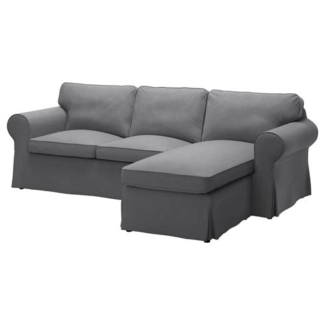 Ektorp Two Seat Sofa And Chaise Longue Nordvalla Dark Grey