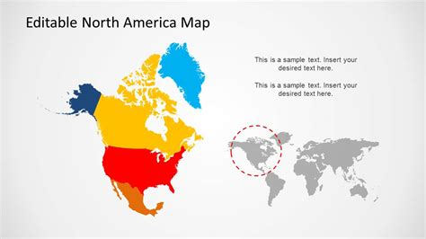 north america canada usa and mexico powerpoint map states and