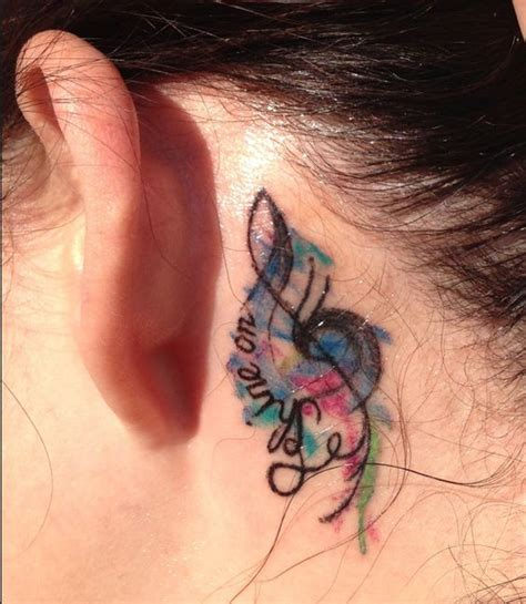 pinks tattoo behind her ear music note tattoos music notes and pink floyd shine on on